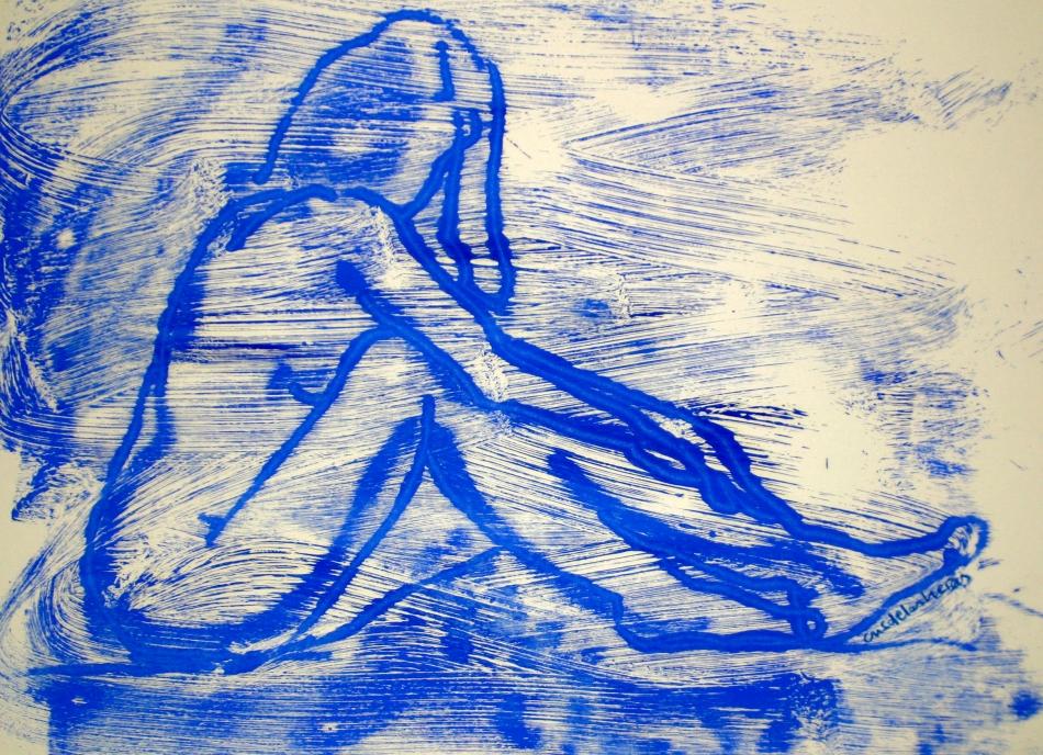 Monotipo al óleo en azul