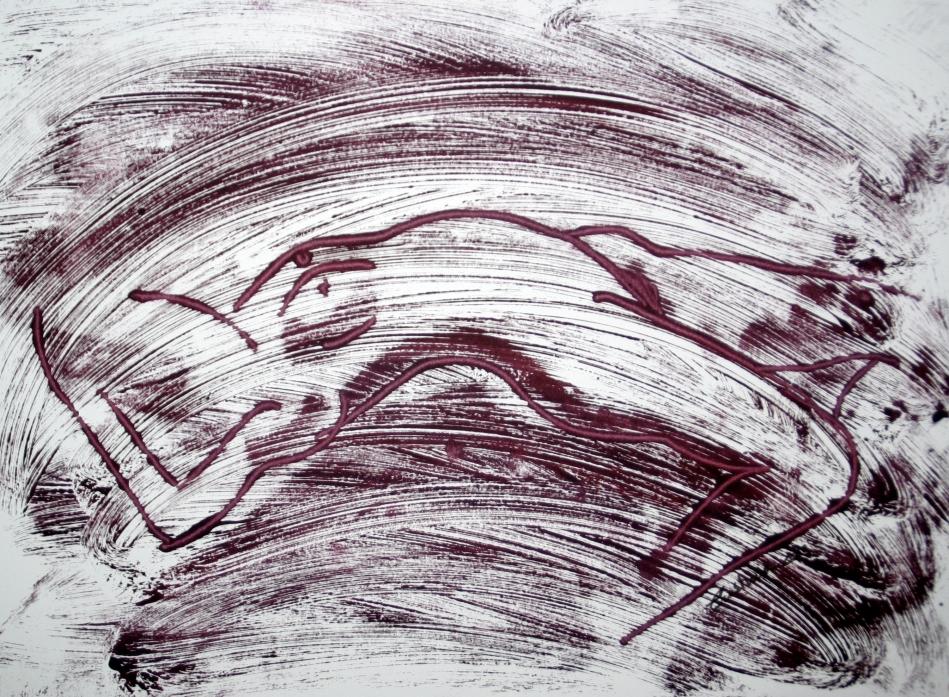 Monotipo al óleo -tumbada